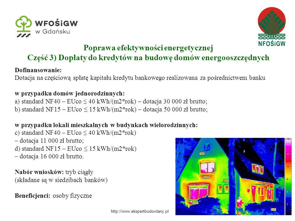 15 Dofinansowanie: Dotacja na częściową spłatę kapitału kredytu bankowego realizowana za pośrednictwem banku w przypadku domów jednorodzinnych: a) standard NF40 – EUco ≤ 40 kWh/(m2*rok) – dotacja 30 000 zł brutto; b) standard NF15 – EUco ≤ 15 kWh/(m2*rok) – dotacja 50 000 zł brutto; w przypadku lokali mieszkalnych w budynkach wielorodzinnych: c) standard NF40 – EUco ≤ 40 kWh/(m2*rok) – dotacja 11 000 zł brutto; d) standard NF15 – EUco ≤ 15 kWh/(m2*rok) – dotacja 16 000 zł brutto.
