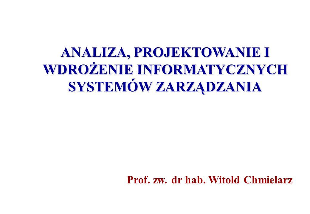 ANALIZA, PROJEKTOWANIE I WDROŻENIE INFORMATYCZNYCH SYSTEMÓW ZARZĄDZANIA Prof.