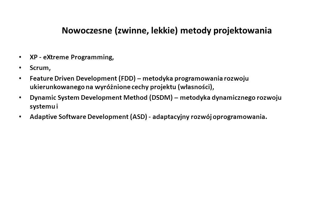 Nowoczesne (zwinne, lekkie) metody projektowania XP - eXtreme Programming, Scrum, Feature Driven Development (FDD) – metodyka programowania rozwoju ukierunkowanego na wyróżnione cechy projektu (własności), Dynamic System Development Method (DSDM) – metodyka dynamicznego rozwoju systemu i Adaptive Software Development (ASD) - adaptacyjny rozwój oprogramowania.