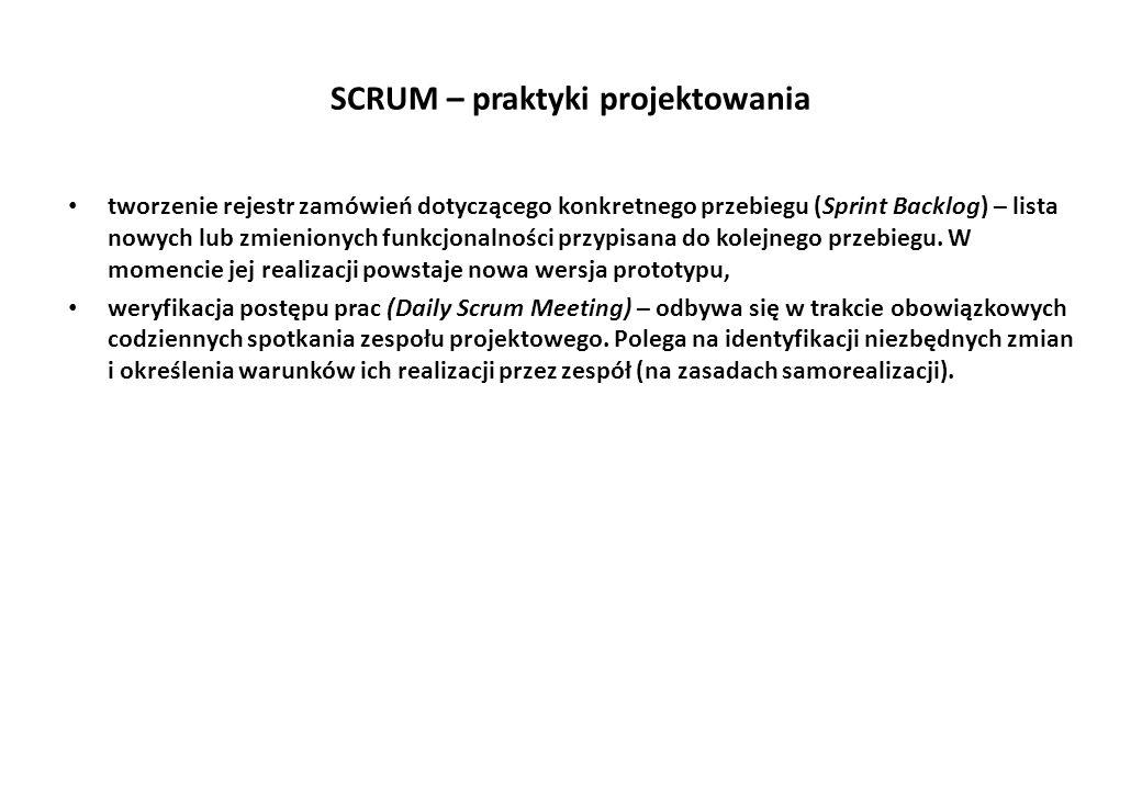 SCRUM – praktyki projektowania tworzenie rejestr zamówień dotyczącego konkretnego przebiegu (Sprint Backlog) – lista nowych lub zmienionych funkcjonalności przypisana do kolejnego przebiegu.