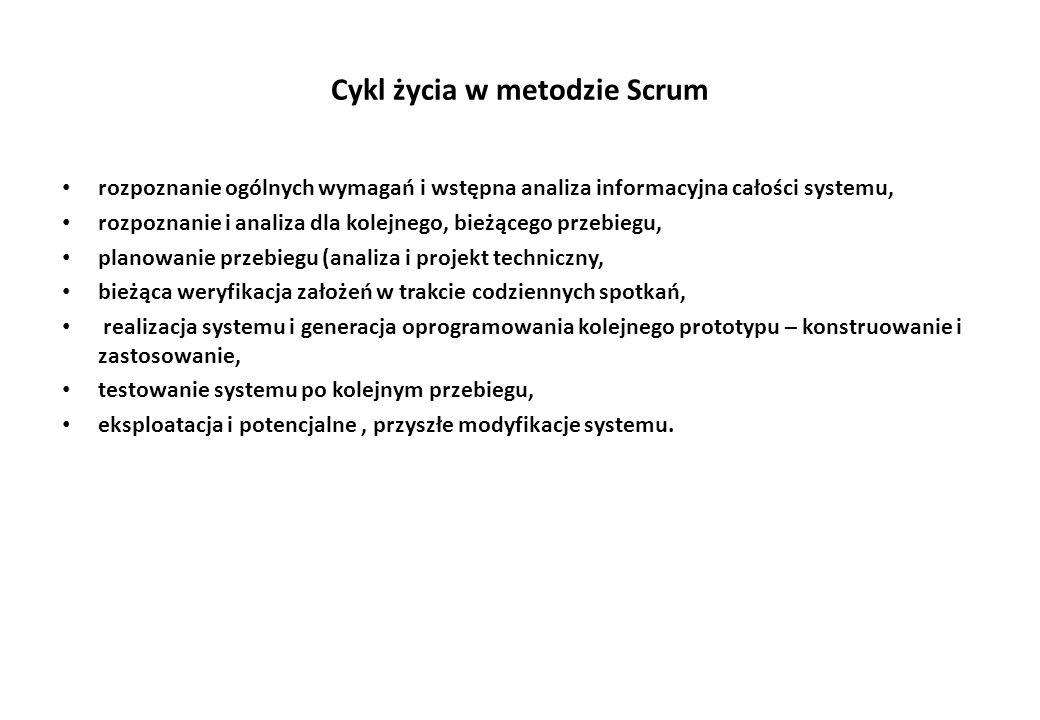 Cykl życia w metodzie Scrum rozpoznanie ogólnych wymagań i wstępna analiza informacyjna całości systemu, rozpoznanie i analiza dla kolejnego, bieżąceg