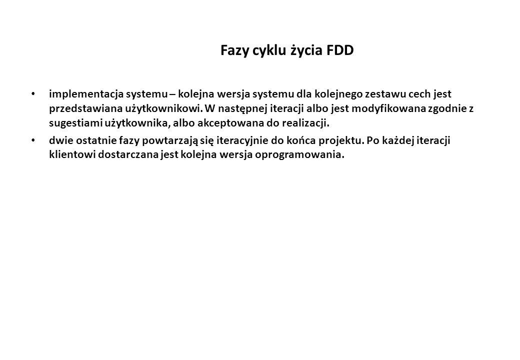 Fazy cyklu życia FDD implementacja systemu – kolejna wersja systemu dla kolejnego zestawu cech jest przedstawiana użytkownikowi.