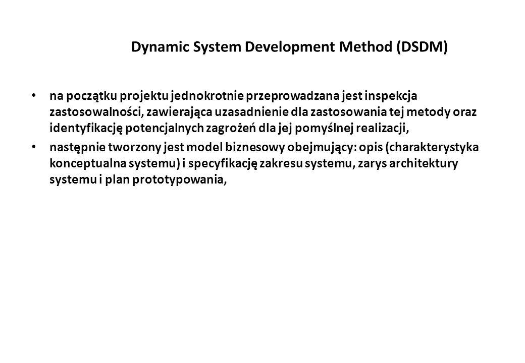 Dynamic System Development Method (DSDM) na początku projektu jednokrotnie przeprowadzana jest inspekcja zastosowalności, zawierająca uzasadnienie dla zastosowania tej metody oraz identyfikację potencjalnych zagrożeń dla jej pomyślnej realizacji, następnie tworzony jest model biznesowy obejmujący: opis (charakterystyka konceptualna systemu) i specyfikację zakresu systemu, zarys architektury systemu i plan prototypowania,