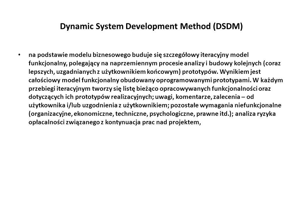 Dynamic System Development Method (DSDM) na podstawie modelu biznesowego buduje się szczegółowy iteracyjny model funkcjonalny, polegający na naprzemiennym procesie analizy i budowy kolejnych (coraz lepszych, uzgadnianych z użytkownikiem końcowym) prototypów.