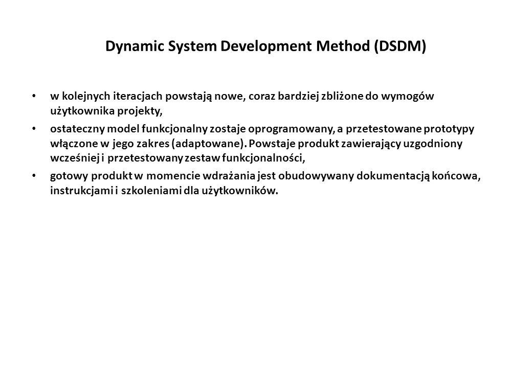 Dynamic System Development Method (DSDM) w kolejnych iteracjach powstają nowe, coraz bardziej zbliżone do wymogów użytkownika projekty, ostateczny model funkcjonalny zostaje oprogramowany, a przetestowane prototypy włączone w jego zakres (adaptowane).