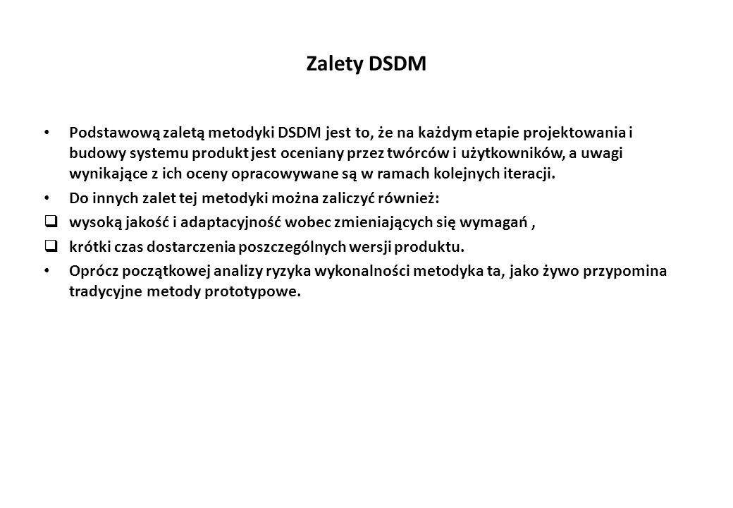 Zalety DSDM Podstawową zaletą metodyki DSDM jest to, że na każdym etapie projektowania i budowy systemu produkt jest oceniany przez twórców i użytkowników, a uwagi wynikające z ich oceny opracowywane są w ramach kolejnych iteracji.