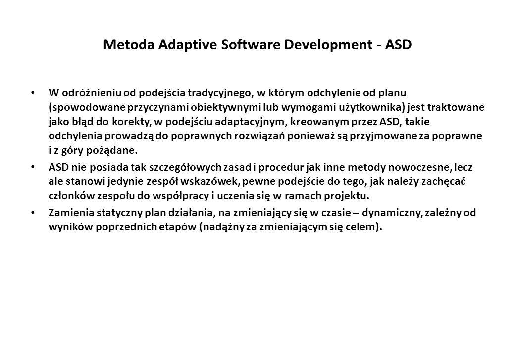 Metoda Adaptive Software Development - ASD W odróżnieniu od podejścia tradycyjnego, w którym odchylenie od planu (spowodowane przyczynami obiektywnymi lub wymogami użytkownika) jest traktowane jako błąd do korekty, w podejściu adaptacyjnym, kreowanym przez ASD, takie odchylenia prowadzą do poprawnych rozwiązań ponieważ są przyjmowane za poprawne i z góry pożądane.