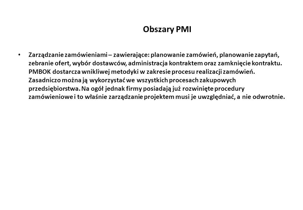 Obszary PMI Zarządzanie zamówieniami – zawierające: planowanie zamówień, planowanie zapytań, zebranie ofert, wybór dostawców, administracja kontraktem oraz zamknięcie kontraktu.