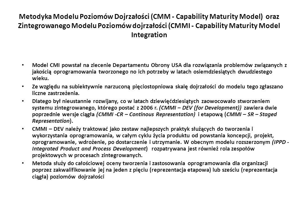 Metodyka Modelu Poziomów Dojrzałości (CMM - Capability Maturity Model) oraz Zintegrowanego Modelu Poziomów dojrzałości (CMMI - Capability Maturity Model Integration Model CMI powstał na zlecenie Departamentu Obrony USA dla rozwiązania problemów związanych z jakością oprogramowania tworzonego no ich potrzeby w latach osiemdziesiątych dwudziestego wieku.