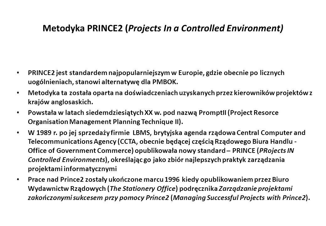 Metodyka PRINCE2 (Projects In a Controlled Environment) PRINCE2 jest standardem najpopularniejszym w Europie, gdzie obecnie po licznych uogólnieniach,