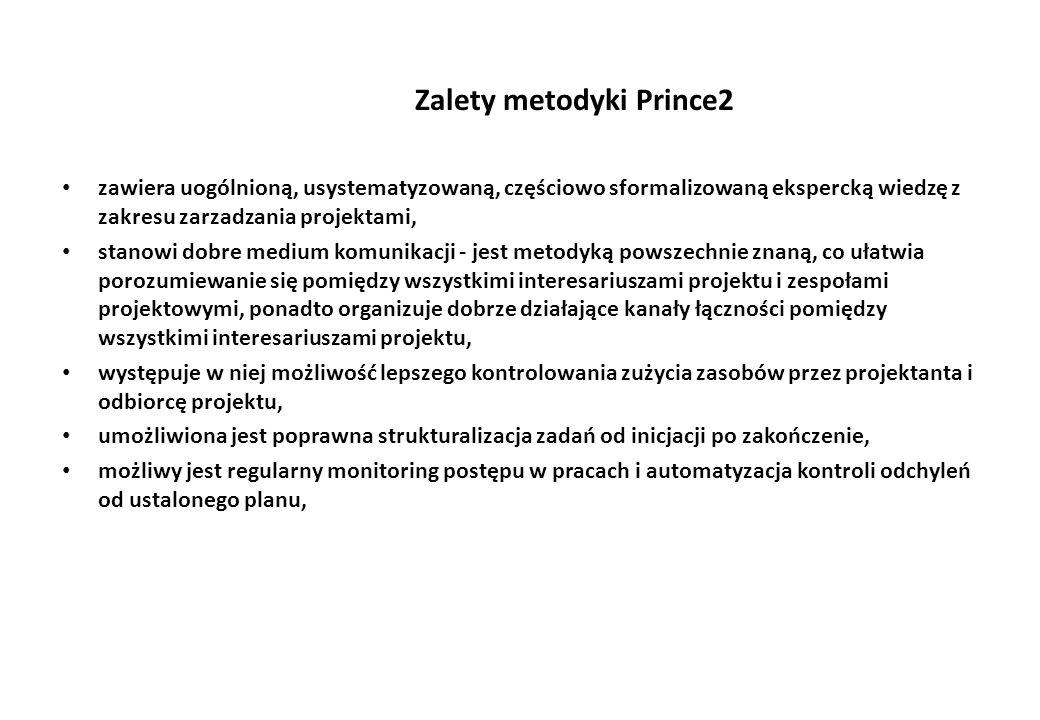 Zalety metodyki Prince2 zawiera uogólnioną, usystematyzowaną, częściowo sformalizowaną ekspercką wiedzę z zakresu zarzadzania projektami, stanowi dobr