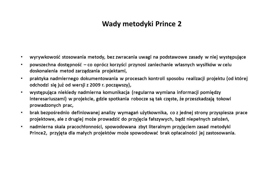 Wady metodyki Prince 2 wyrywkowość stosowania metody, bez zwracania uwagi na podstawowe zasady w niej występujące powszechna dostępność – co oprócz korzyści przynosi zaniechanie własnych wysiłków w celu doskonalenia metod zarządzania projektami, praktyka nadmiernego dokumentowania w procesach kontroli sposobu realizacji projektu (od której odchodzi się już od wersji z 2009 r.