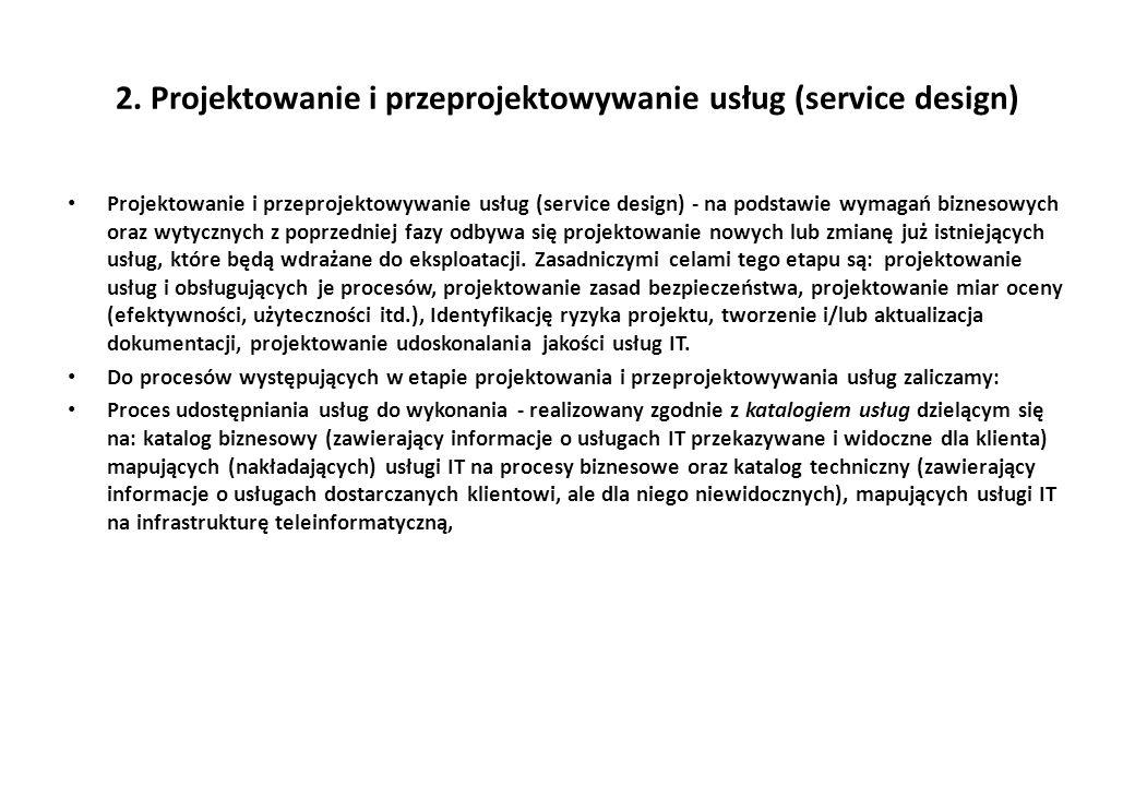 2. Projektowanie i przeprojektowywanie usług (service design) Projektowanie i przeprojektowywanie usług (service design) - na podstawie wymagań biznes