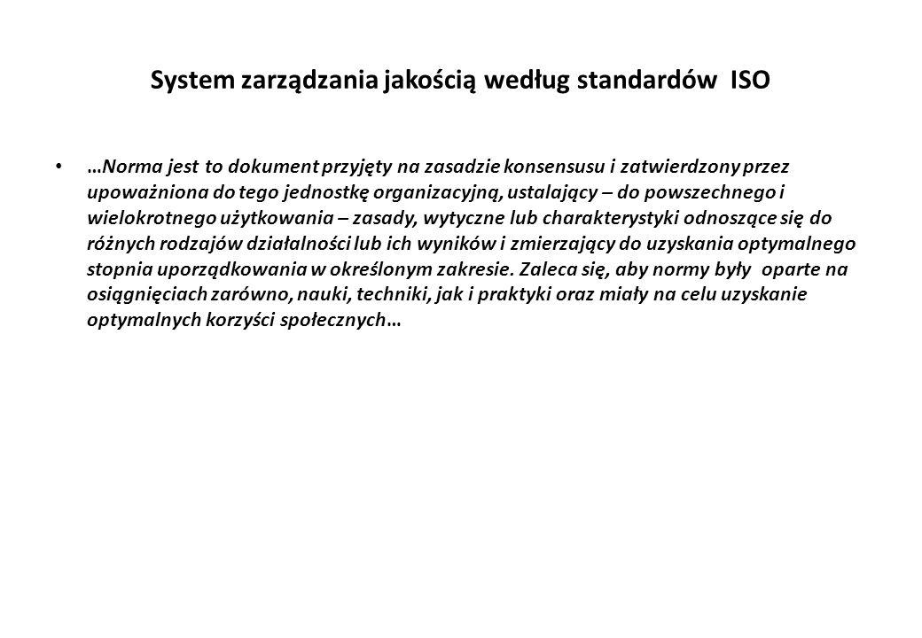 System zarządzania jakością według standardów ISO …Norma jest to dokument przyjęty na zasadzie konsensusu i zatwierdzony przez upoważniona do tego jednostkę organizacyjną, ustalający – do powszechnego i wielokrotnego użytkowania – zasady, wytyczne lub charakterystyki odnoszące się do różnych rodzajów działalności lub ich wyników i zmierzający do uzyskania optymalnego stopnia uporządkowania w określonym zakresie.