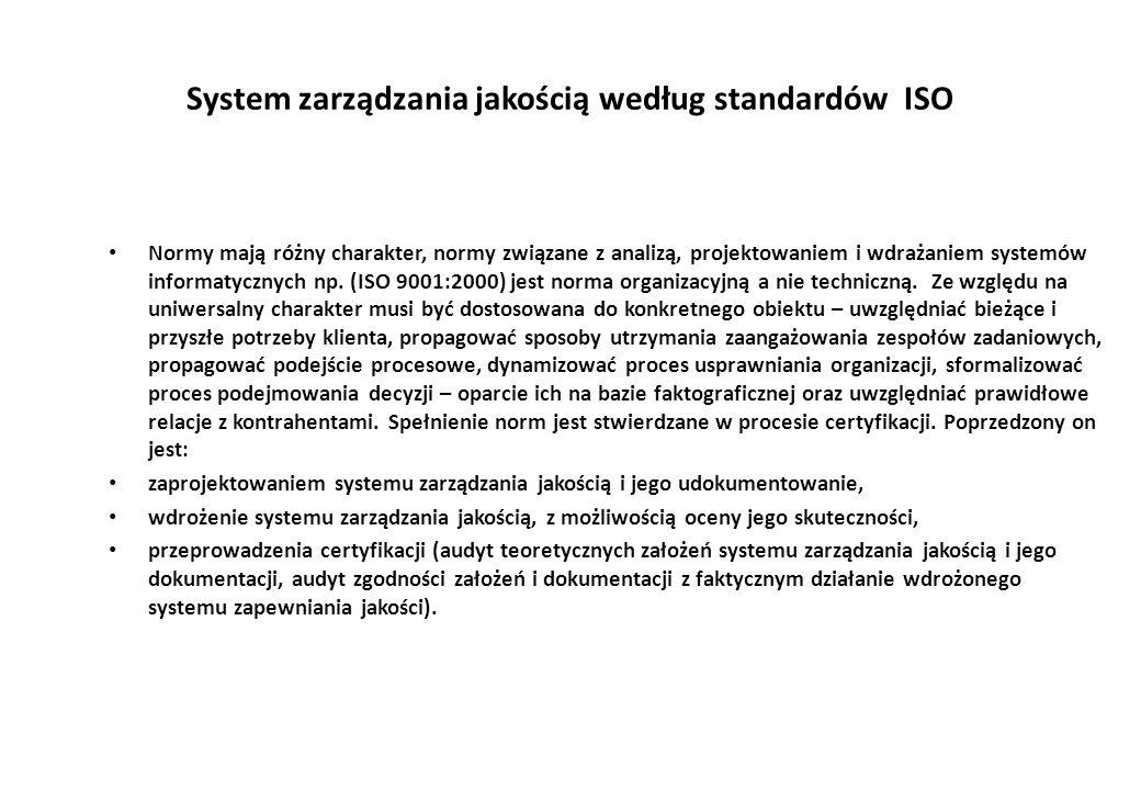 System zarządzania jakością według standardów ISO Normy mają różny charakter, normy związane z analizą, projektowaniem i wdrażaniem systemów informatycznych np.