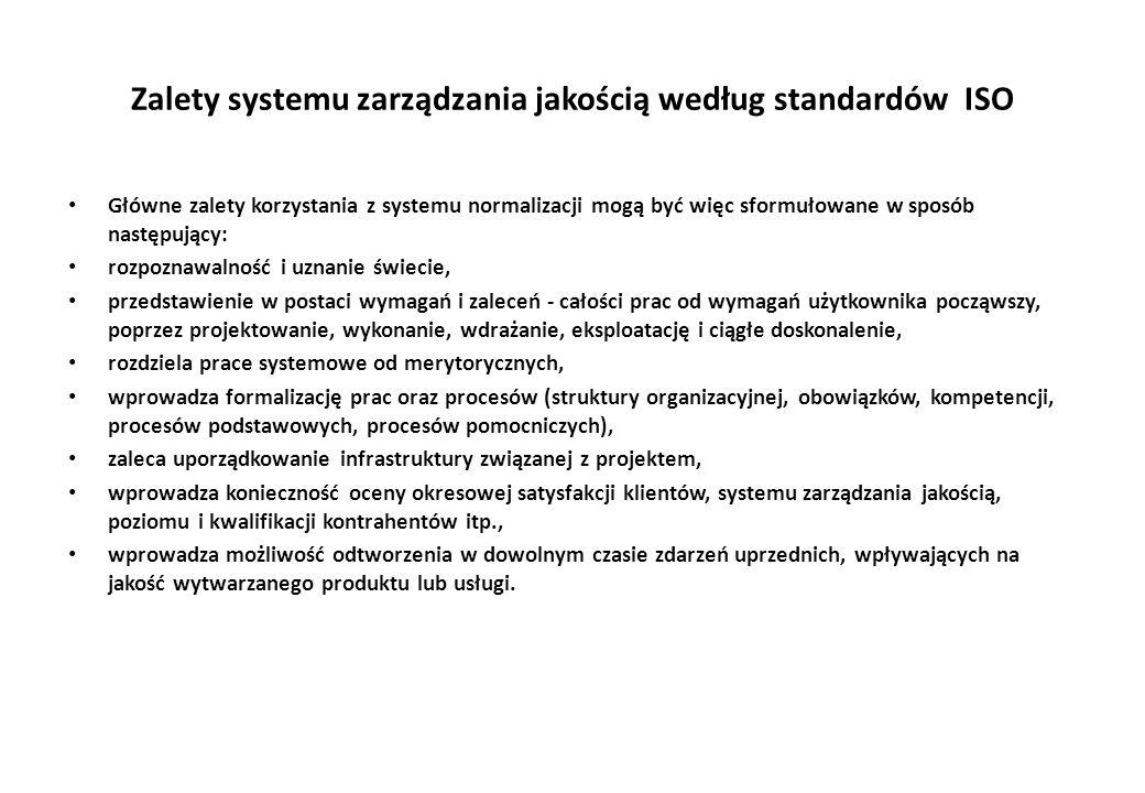 Zalety systemu zarządzania jakością według standardów ISO Główne zalety korzystania z systemu normalizacji mogą być więc sformułowane w sposób następujący: rozpoznawalność i uznanie świecie, przedstawienie w postaci wymagań i zaleceń - całości prac od wymagań użytkownika począwszy, poprzez projektowanie, wykonanie, wdrażanie, eksploatację i ciągłe doskonalenie, rozdziela prace systemowe od merytorycznych, wprowadza formalizację prac oraz procesów (struktury organizacyjnej, obowiązków, kompetencji, procesów podstawowych, procesów pomocniczych), zaleca uporządkowanie infrastruktury związanej z projektem, wprowadza konieczność oceny okresowej satysfakcji klientów, systemu zarządzania jakością, poziomu i kwalifikacji kontrahentów itp., wprowadza możliwość odtworzenia w dowolnym czasie zdarzeń uprzednich, wpływających na jakość wytwarzanego produktu lub usługi.