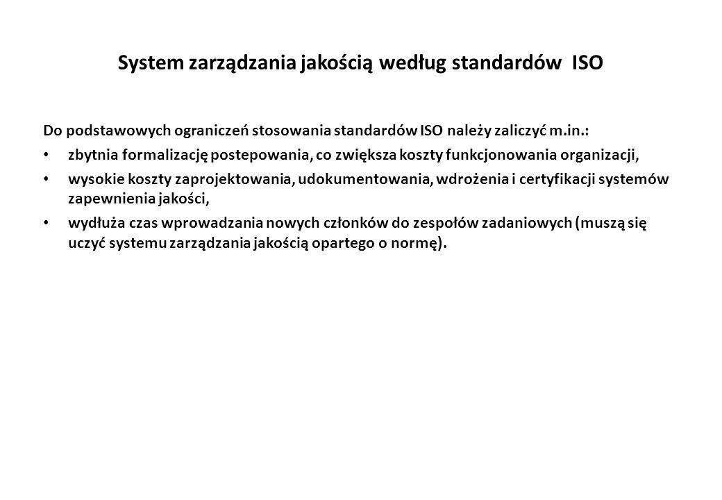 System zarządzania jakością według standardów ISO Do podstawowych ograniczeń stosowania standardów ISO należy zaliczyć m.in.: zbytnia formalizację postepowania, co zwiększa koszty funkcjonowania organizacji, wysokie koszty zaprojektowania, udokumentowania, wdrożenia i certyfikacji systemów zapewnienia jakości, wydłuża czas wprowadzania nowych członków do zespołów zadaniowych (muszą się uczyć systemu zarządzania jakością opartego o normę).