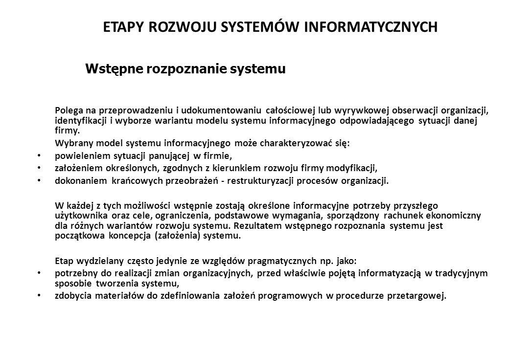 ETAPY ROZWOJU SYSTEMÓW INFORMATYCZNYCH Polega na przeprowadzeniu i udokumentowaniu całościowej lub wyrywkowej obserwacji organizacji, identyfikacji i wyborze wariantu modelu systemu informacyjnego odpowiadającego sytuacji danej firmy.