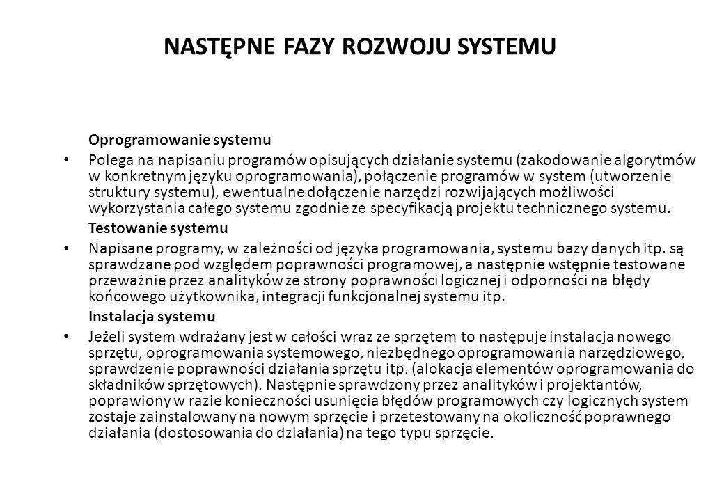 NASTĘPNE FAZY ROZWOJU SYSTEMU Oprogramowanie systemu Polega na napisaniu programów opisujących działanie systemu (zakodowanie algorytmów w konkretnym języku oprogramowania), połączenie programów w system (utworzenie struktury systemu), ewentualne dołączenie narzędzi rozwijających możliwości wykorzystania całego systemu zgodnie ze specyfikacją projektu technicznego systemu.