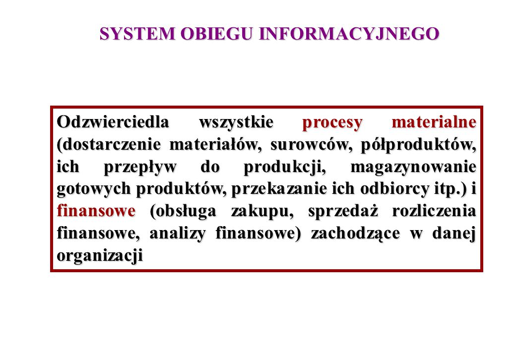 SYSTEM OBIEGU INFORMACYJNEGO Odzwierciedla wszystkie procesy materialne (dostarczenie materiałów, surowców, półproduktów, ich przepływ do produkcji, m