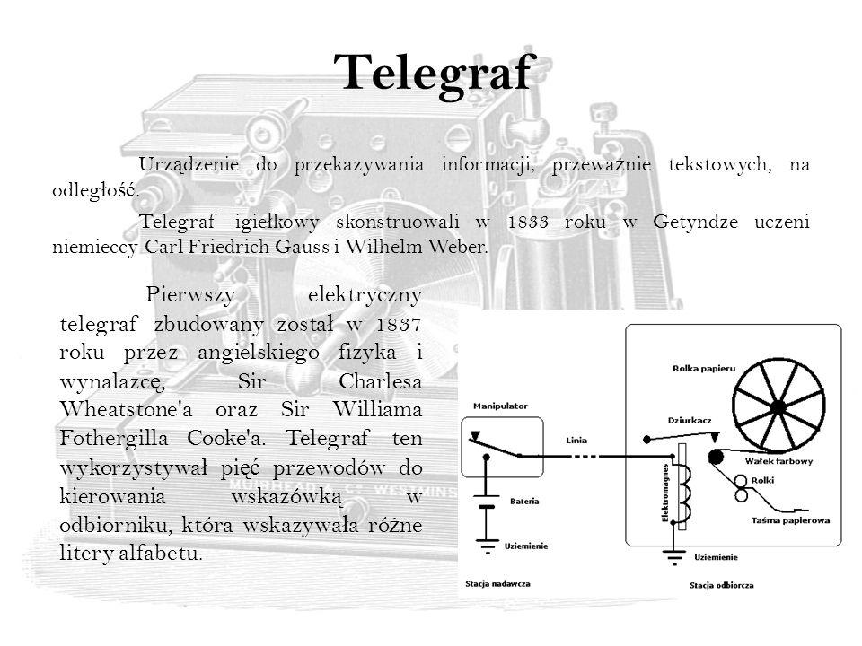 Telegraf Urz ą dzenie do przekazywania informacji, przewa ż nie tekstowych, na odleg ł o ść.