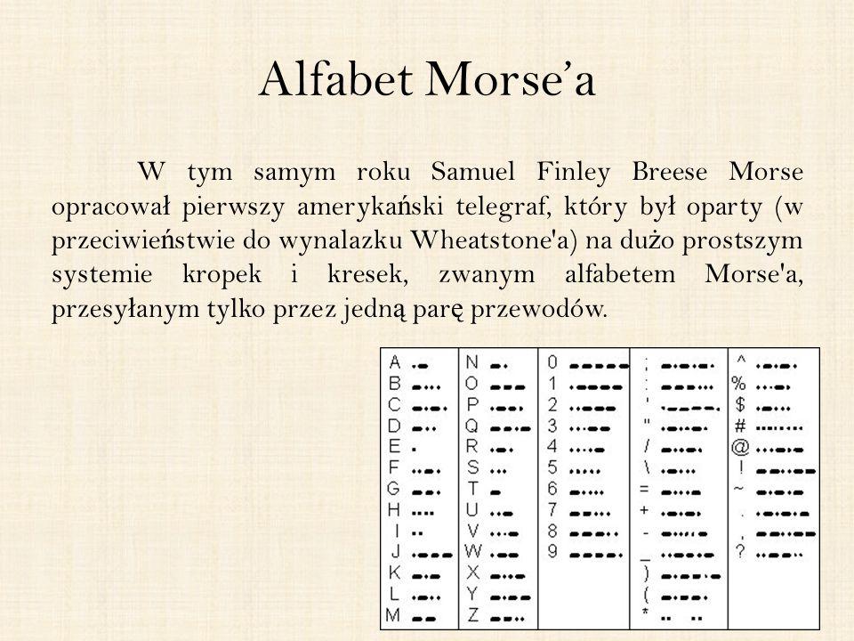 Alfabet Morse'a W tym samym roku Samuel Finley Breese Morse opracowa ł pierwszy ameryka ń ski telegraf, który by ł oparty (w przeciwie ń stwie do wynalazku Wheatstone a) na du ż o prostszym systemie kropek i kresek, zwanym alfabetem Morse a, przesy ł anym tylko przez jedn ą par ę przewodów.