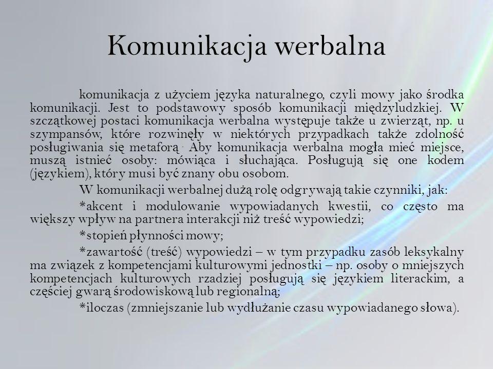 Komunikacja werbalna komunikacja z u ż yciem j ę zyka naturalnego, czyli mowy jako ś rodka komunikacji.
