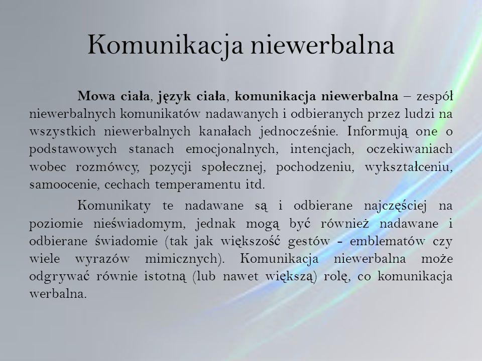 Komunikacja niewerbalna Mowa cia ł a, j ę zyk cia ł a, komunikacja niewerbalna – zespó ł niewerbalnych komunikatów nadawanych i odbieranych przez ludzi na wszystkich niewerbalnych kana ł ach jednocze ś nie.