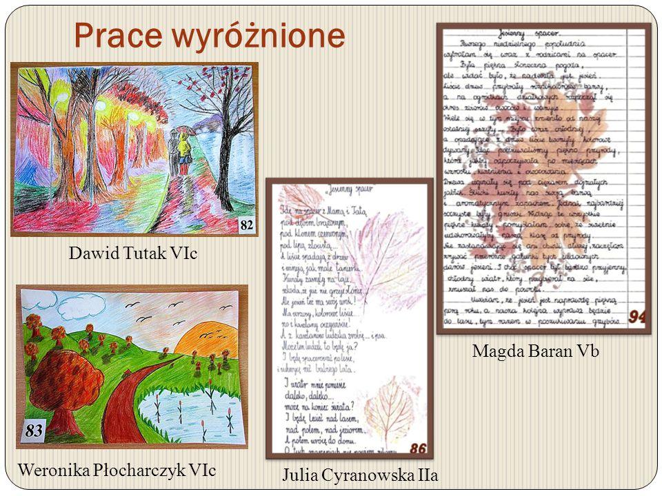 Prace wyróżnione Dominika Kotlarz IIIdOliwia Kotlarz IVdJulia Żyła IVd Jakub Szmit VIa Wiktoria Switek VIb Ziemowit Adaś VIc