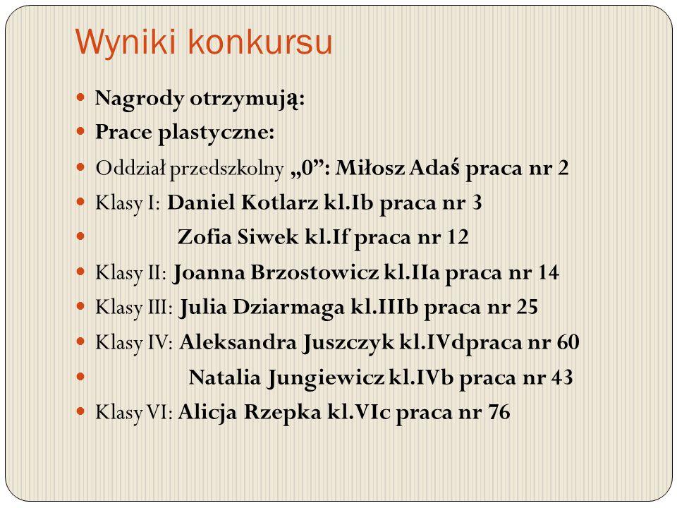Wyniki konkursu Na konkurs napłyn ę ło 99 prac klas 0-VI, wszystkie zgodne z regulaminem.