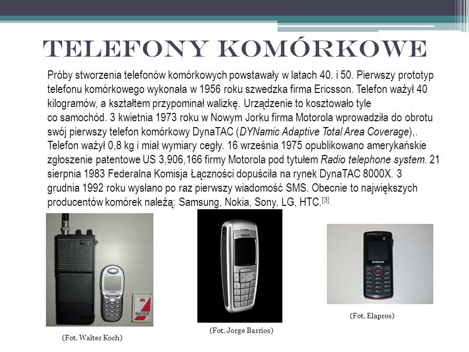 Telefony komórkowe Próby stworzenia telefonów komórkowych powstawały w latach 40.