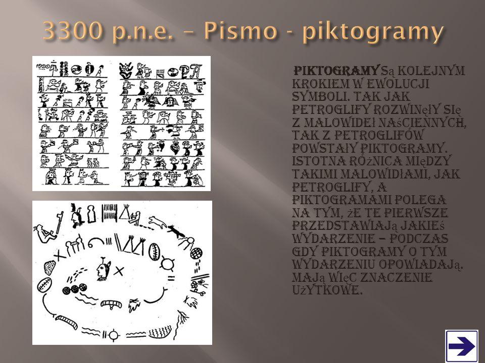 Piktogramy s ą kolejnym krokiem w ewolucji symboli. Tak jak petroglify rozwin ęł y si ę z malowide ł na ś ciennych, tak z petroglifów powsta ł y pikto