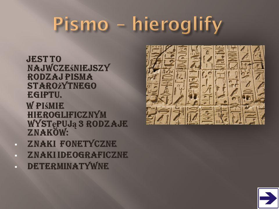 Jest to najwcze ś niejszy rodzaj pisma staro ż ytnego Egiptu. W pi ś mie hieroglificznym wyst ę puj ą 3 rodzaje znaków:  znaki fonetyczne  znaki ide