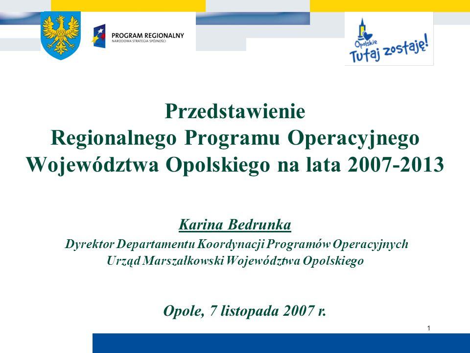 Urząd Marszałkowski Województwa Opolskiego 1 Przedstawienie Regionalnego Programu Operacyjnego Województwa Opolskiego na lata 2007-2013 Karina Bedrunk