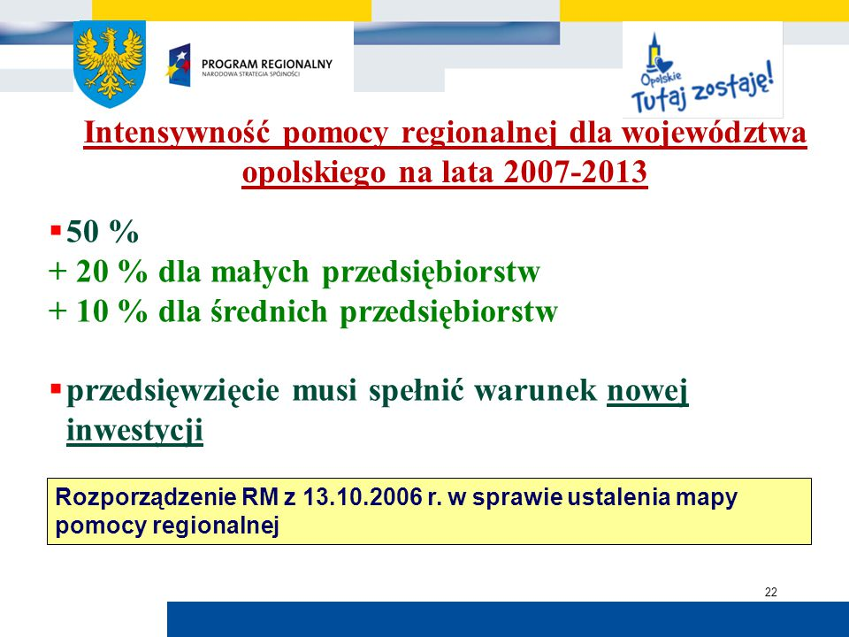 Urząd Marszałkowski Województwa Opolskiego 22 Intensywność pomocy regionalnej dla województwa opolskiego na lata 2007-2013  50 % + 20 % dla małych przedsiębiorstw + 10 % dla średnich przedsiębiorstw  przedsięwzięcie musi spełnić warunek nowej inwestycji Rozporządzenie RM z 13.10.2006 r.