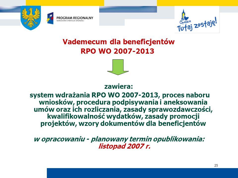 Urząd Marszałkowski Województwa Opolskiego 25 Vademecum dla beneficjentów RPO WO 2007-2013 zawiera: system wdrażania RPO WO 2007-2013, proces naboru wniosków, procedura podpisywania i aneksowania umów oraz ich rozliczania, zasady sprawozdawczości, kwalifikowalność wydatków, zasady promocji projektów, wzory dokumentów dla beneficjentów w opracowaniu - planowany termin opublikowania: listopad 2007 r.