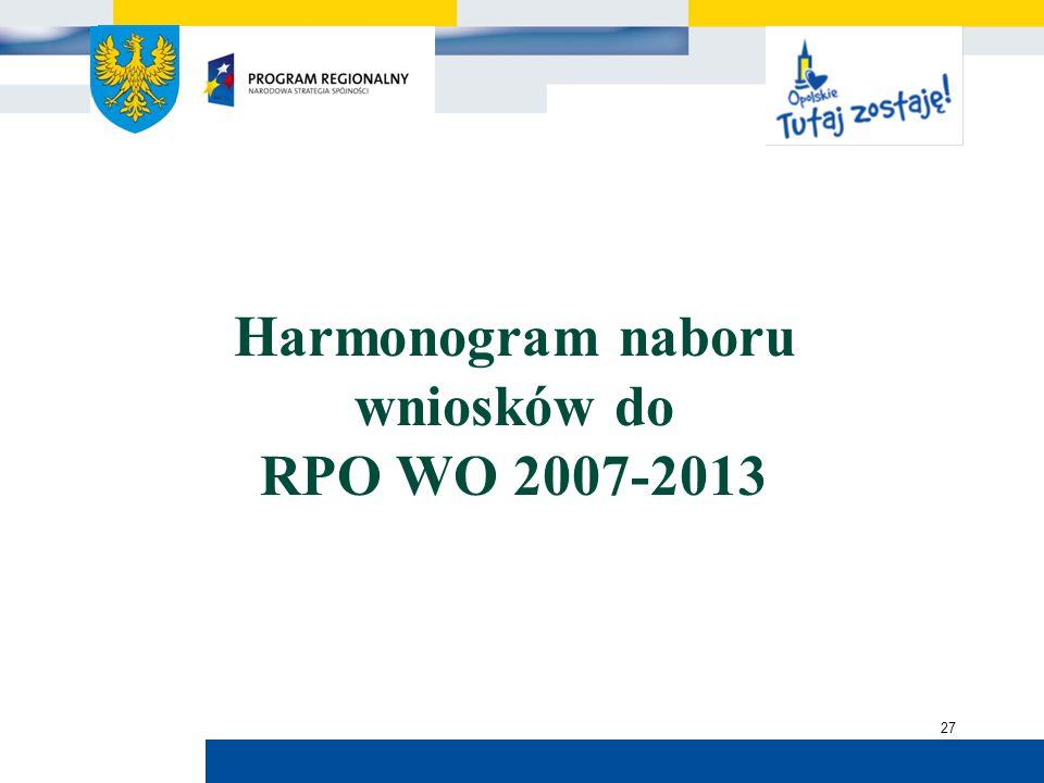 Urząd Marszałkowski Województwa Opolskiego 27 Harmonogram naboru wniosków do RPO WO 2007-2013