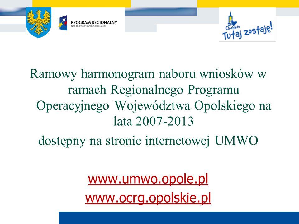 Urząd Marszałkowski Województwa Opolskiego Ramowy harmonogram naboru wniosków w ramach Regionalnego Programu Operacyjnego Województwa Opolskiego na la