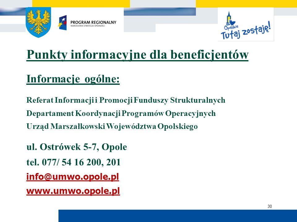 Urząd Marszałkowski Województwa Opolskiego 30 Punkty informacyjne dla beneficjentów Informacje ogólne: Referat Informacji i Promocji Funduszy Struktur
