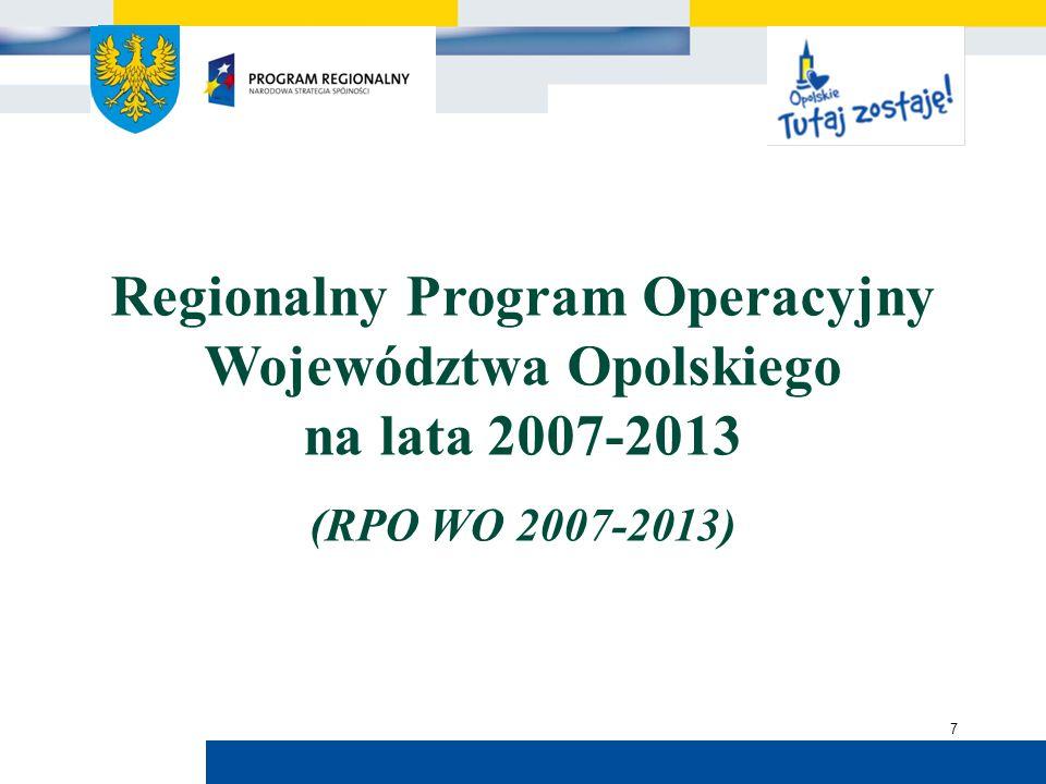 Urząd Marszałkowski Województwa Opolskiego 8 Prace nad RPO WO 2007-2013 listopad 2004 r.