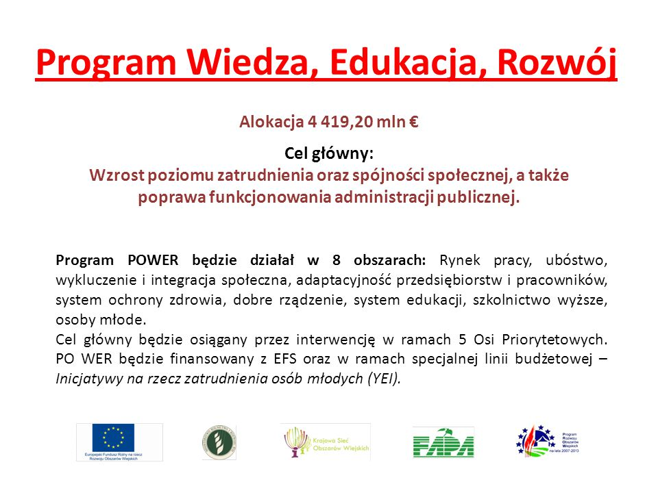 Program Wiedza, Edukacja, Rozwój Program POWER będzie działał w 8 obszarach: Rynek pracy, ubóstwo, wykluczenie i integracja społeczna, adaptacyjność p