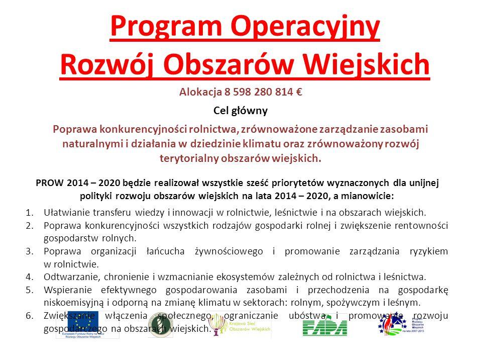 Program Operacyjny Rozwój Obszarów Wiejskich Alokacja 8 598 280 814 € Cel główny Poprawa konkurencyjności rolnictwa, zrównoważone zarządzanie zasobami