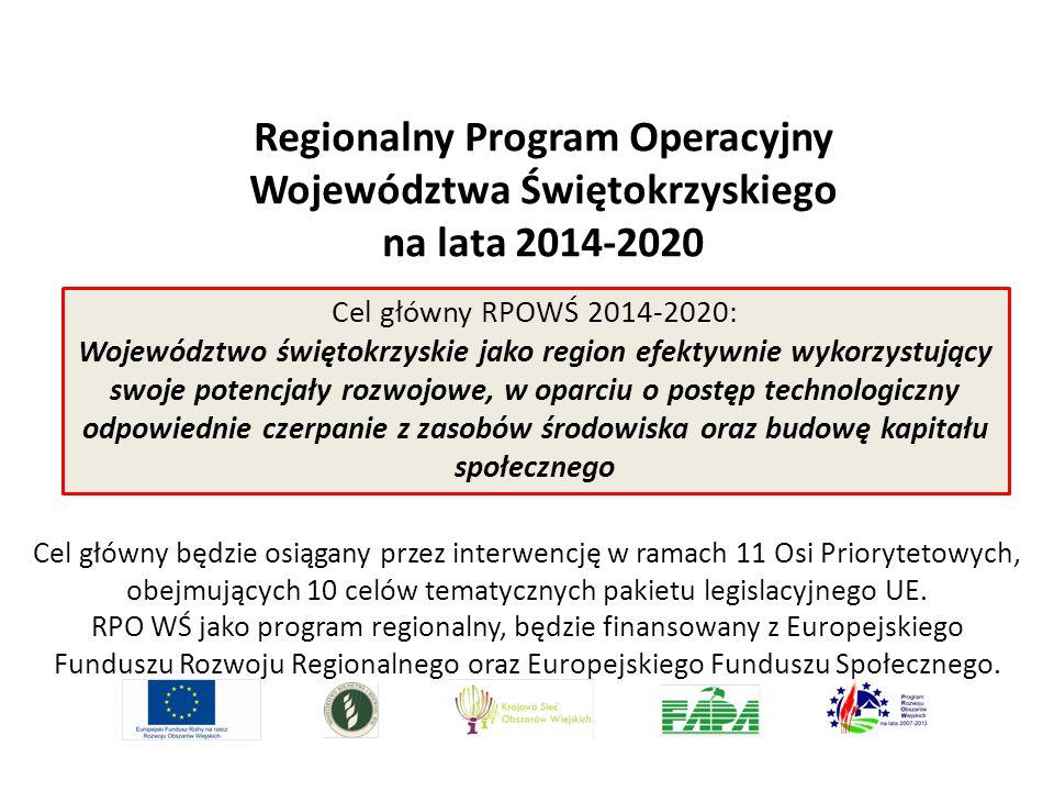 Regionalny Program Operacyjny Województwa Świętokrzyskiego na lata 2014-2020 Cel główny RPOWŚ 2014-2020: Województwo świętokrzyskie jako region efekty