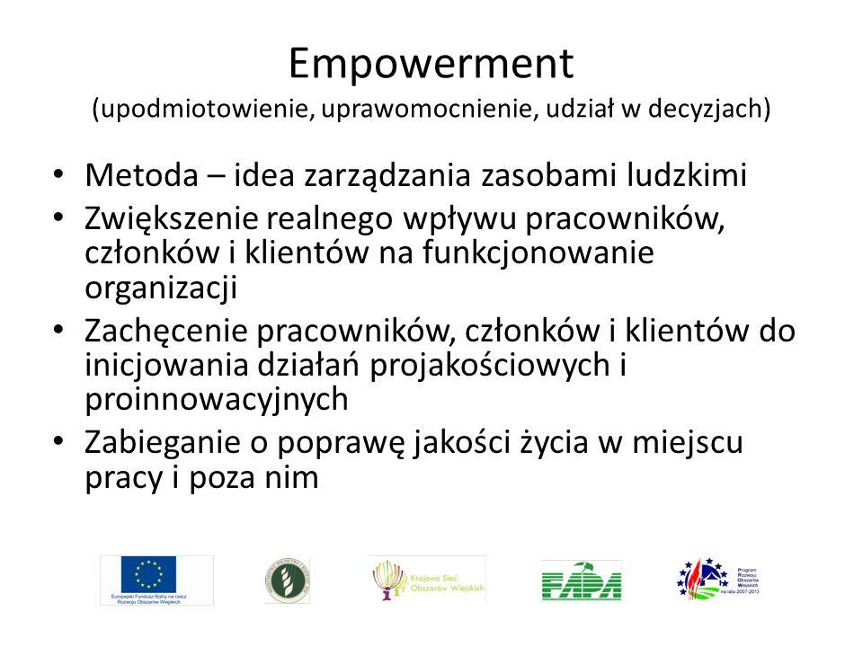 Empowerment (upodmiotowienie, uprawomocnienie, udział w decyzjach) Metoda – idea zarządzania zasobami ludzkimi Zwiększenie realnego wpływu pracowników