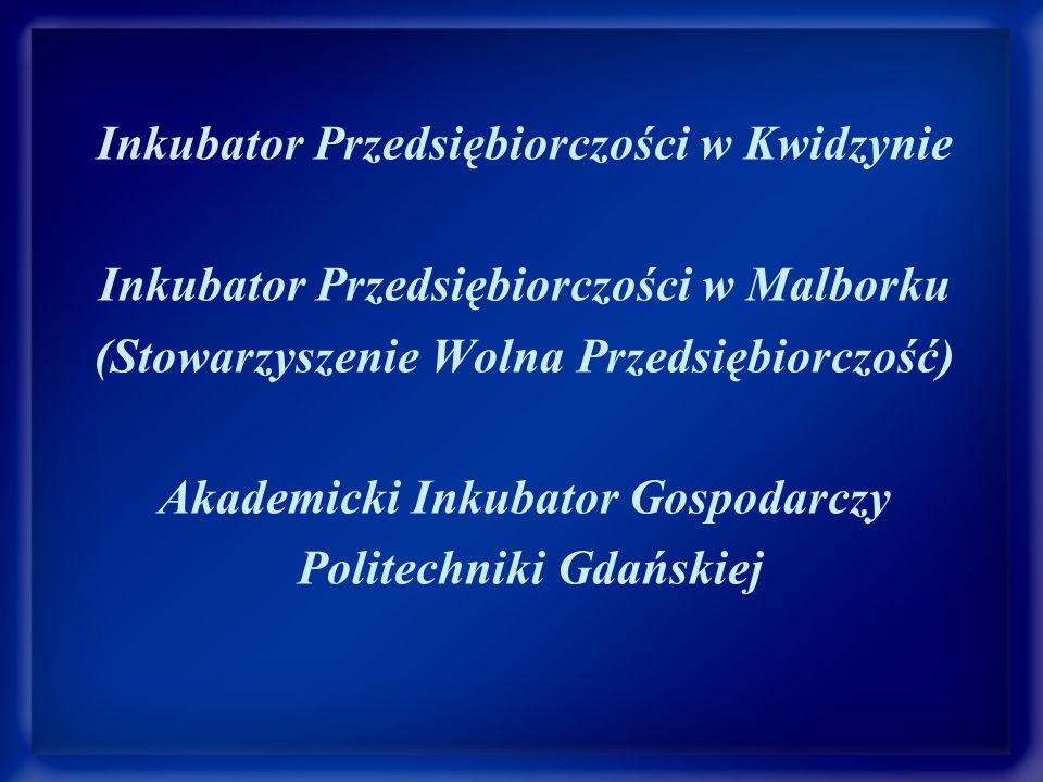 Inkubator Przedsiębiorczości w Kwidzynie Inkubator Przedsiębiorczości w Malborku (Stowarzyszenie Wolna Przedsiębiorczość) Akademicki Inkubator Gospodarczy Politechniki Gdańskiej