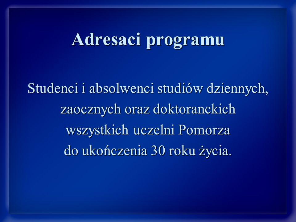 Adresaci programu Studenci i absolwenci studiów dziennych, zaocznych oraz doktoranckich wszystkich uczelni Pomorza do ukończenia 30 roku życia.