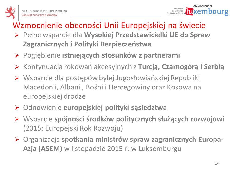  Pełne wsparcie dla Wysokiej Przedstawicielki UE do Spraw Zagranicznych i Polityki Bezpieczeństwa  Pogłębienie istniejących stosunków z partnerami 