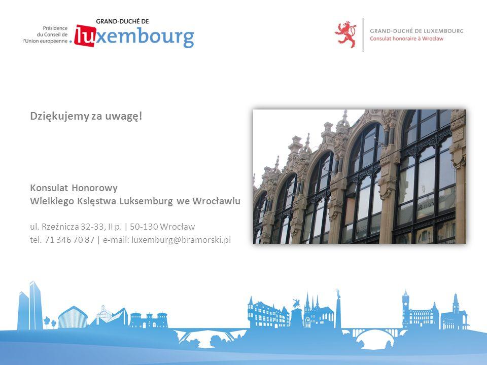 Konsulat Honorowy Wielkiego Księstwa Luksemburg we Wrocławiu ul. Rzeźnicza 32-33, II p.   50-130 Wrocław tel. 71 346 70 87   e-mail: luxemburg@bramors
