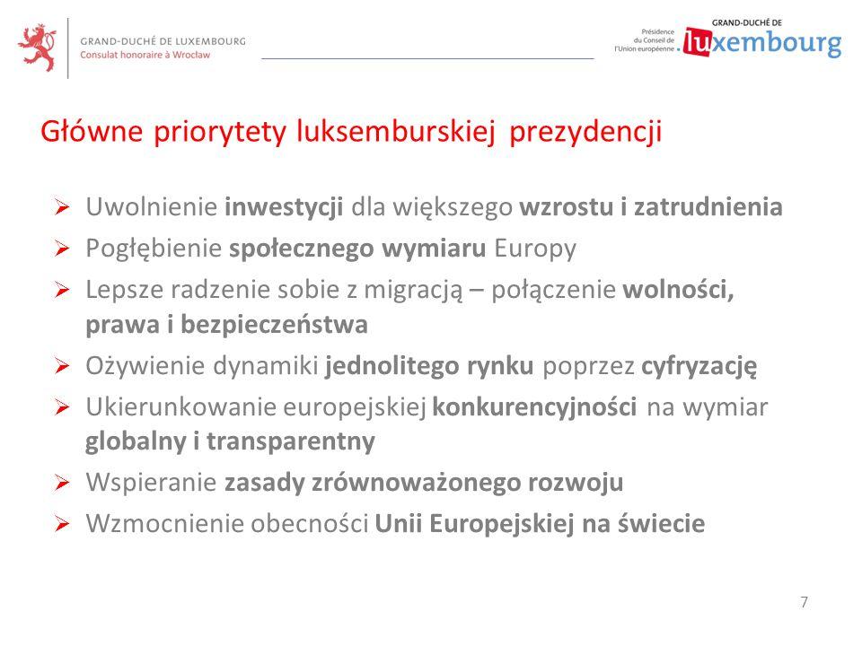  Ofensywa inwestycyjna dla Europy, łącznie z Europejskim Funduszem Inwestycji Strategicznych (EFIS)  wzmocnienie przewidywalności regulacyjnych warunków ramowych i likwidacja przeszkód dla inwestycji  Stworzenie unii rynków kapitałowych  Uzupełnienie przepisów dotyczących usług finansowych (reformy strukturalne w sektorze bankowym)  Wdrożenie rzeczywistej europejskiej polityki przemysłowej  Akcent na badania i innowacje Uwolnienie inwestycji dla większego wzrostu i zatrudnienia 8