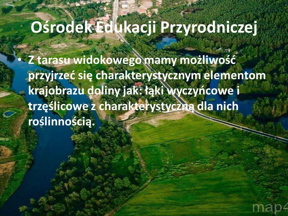 Ośrodek Edukacji Przyrodniczej Z tarasu widokowego mamy możliwość przyjrzeć się charakterystycznym elementom krajobrazu doliny jak: łąki wyczyńcowe i